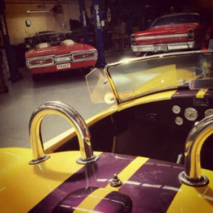 Classic car getting transmission work done