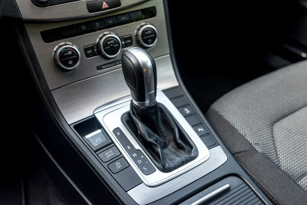 Closeup of automatic transmission inside car